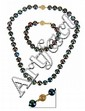 FINE South Seas 14K Tahitian Pearl Necklace Suite