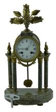 Antique French Style Marble & Brass Mantel Clock