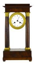 French Wood Pillared Mantel Clock