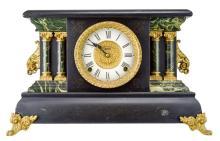 Victorian Ingram Marbleized Wooden Mantle Clock