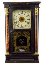 Antique Reverse Painted Pillar Mantle Clock