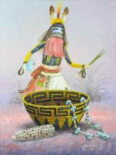 Robert Yellowhair (1937 - ) Kachina Oil Painting