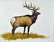Lanny Grant (1953-) Elk Oil On Canvas