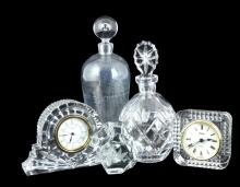 5 Pc. Glass Decanter & Clock Lot w/ Waterford