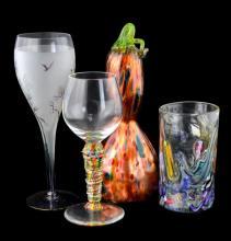 4 Pc Art Glass Lot w/ Jesse Kelly