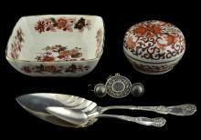 Sterling Silver Bracelet & Bells, Asian Jar & Bowl