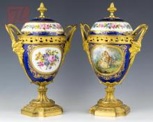 2 Pc. Painted Porcelain & Brass Covered Urn Lot