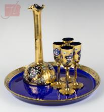 6 Pc. Bohemian Glass & Enamel Liqueur Serving Set