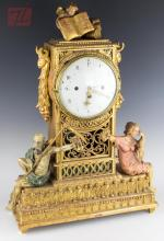 19th C. Carved Giltwood Father Time Clock w/ Shelf