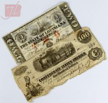 Currency: Confederate & Louisiana Note