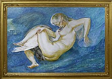 Nathan Wasserberger Oil Painting, Nude with Goose