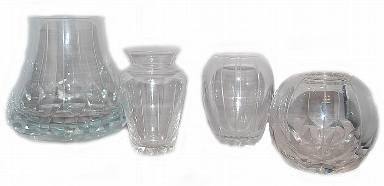 Lot of 4 Kurt Strobach Crystal Vases