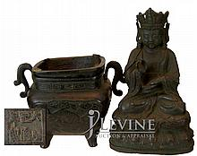 Antique Bronze Censer & Emperor Figure