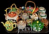 (12) Asian Banko Pottery Teapot Mask Face Duck Lot