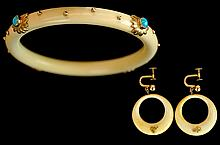 Ivory/Turquoise 10k/18k Gold Accent Jewelry Suite