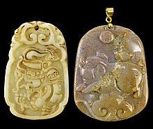 PAIR Vintage Jade Pendants, 1 w/ 18k GP Bail