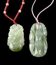 PAIR Vintage Jade Pendant Lot
