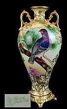 Hand Painted Nippon Pigeon Vase