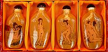 4 Erotic Chinese Reverse Painted Snuff Bottle Set