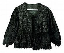 Vintage Eastern Child's Velvet Bead Fringe Jacket