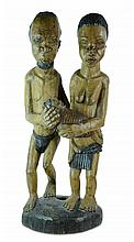 African Carved Wood 3 Figure Family Sculpture