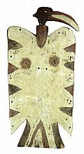New Guinea Carved Wood Polychrome Bird Shield