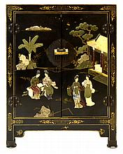 Vintage Asian Cabinet w/ Applied Stone Decorations