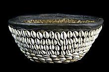 Vintage African Woven Hemp Leather Cowrie Basket