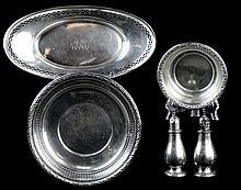5 Pc Sterling Silver Bowl Tray Salt & Pepper