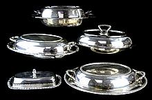 5 Pc Silver Plate Covered Dish Collection