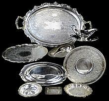 9 Pc Silver Plate Tray Bowl Dish Gravy Boat