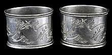 PAIR Russian Silver Napkin Ring, Marked 84