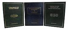 3 Pc. Currency Book Lot w/ Two-Dollar Notes Folio