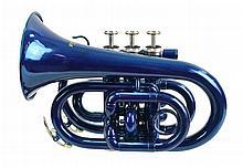Cecilio Blue Lacquer Pocket Trumpet w/ Case