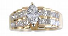 14K Gold Marquise Diamond Engagement Ring