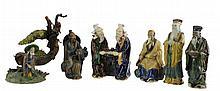 6 Pc. Glazed Chinese Mud Man Lot