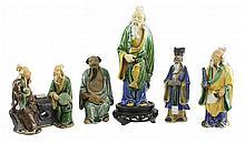5 Pc. Glazed Chinese Mud Man Lot