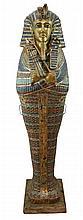 20th C. Full-Size Gilt Wood Egyptian Sarcophagus
