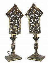 c 1940s Moroccan Style Decorative Brass Lamp Pair