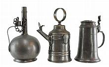 3 Pc. Bavarian Pewter Vessel Lot