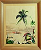Hawaiian Gouache, Mid-Century Watercolor Painting