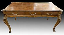 French Style Three Drawer Hardwood Veneer Table