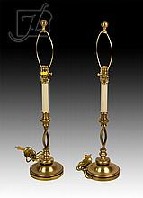 Mid Century Modern Chapman Brass Table Lamp Pair