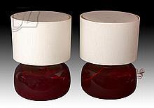 Mid Century Modern Art Glass Lamp Pair