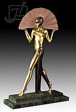 Art Deco Figural Bronze & Marble Lamp