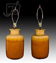 20th C. Glazed Ceramic Table Lamp Pair