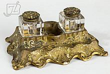 19th C. Cupid Enameled Brass Double Inkwell