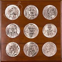 9 Pc. Joe Beeler Pewter Medallion Lot