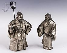 Signed Japanese Brass & Tin Plated Sculpture Pair