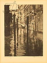 20th C. Signed Venetian Canal Etching